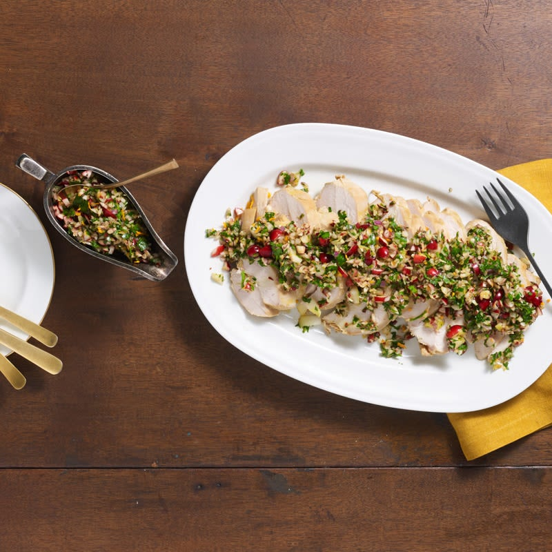 Photo of Poached turkey breast with cranberry gremolata by Chef Eric Greenspan by WW