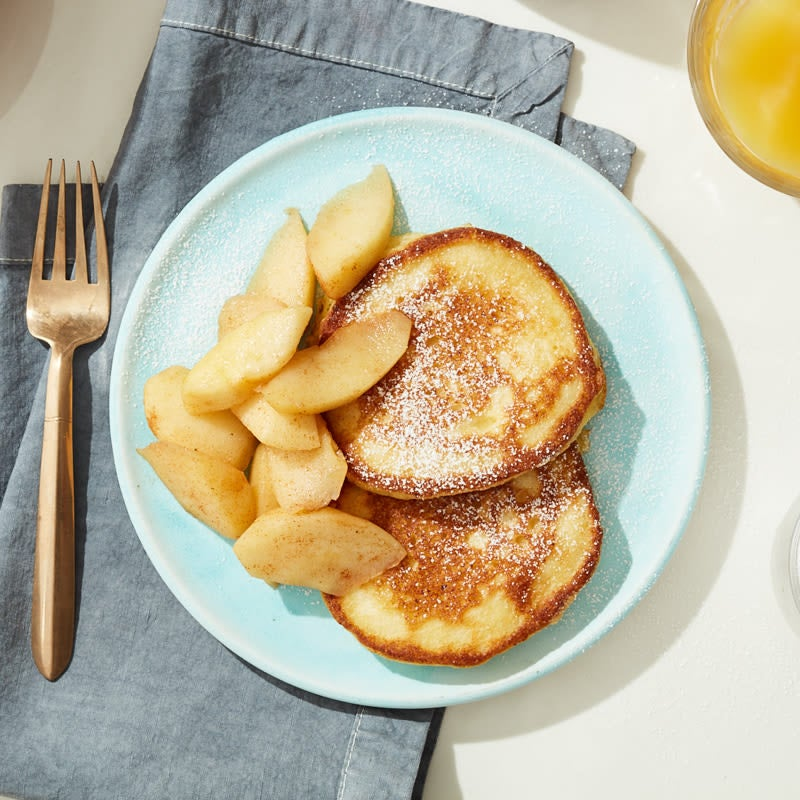 Photo of Cat Cora's ricotta hotcakes with warm cinnamon apples by WW