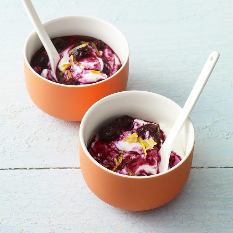 Photo of Greek yogurt with warm blueberry sauce by WW