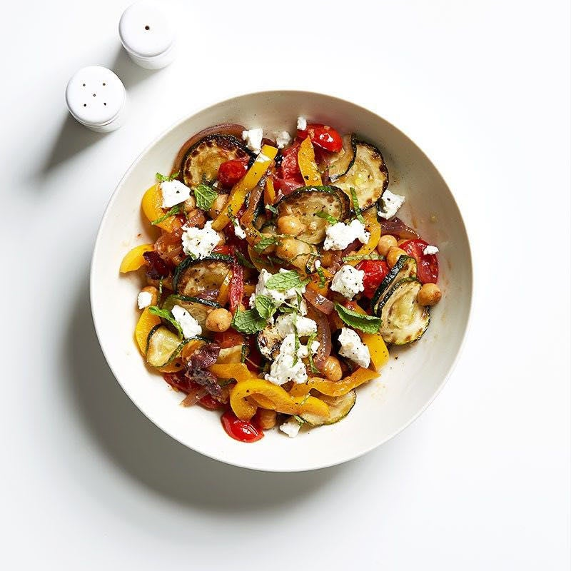 Photo of Chickpea and zucchini sauté with mint and feta by WW