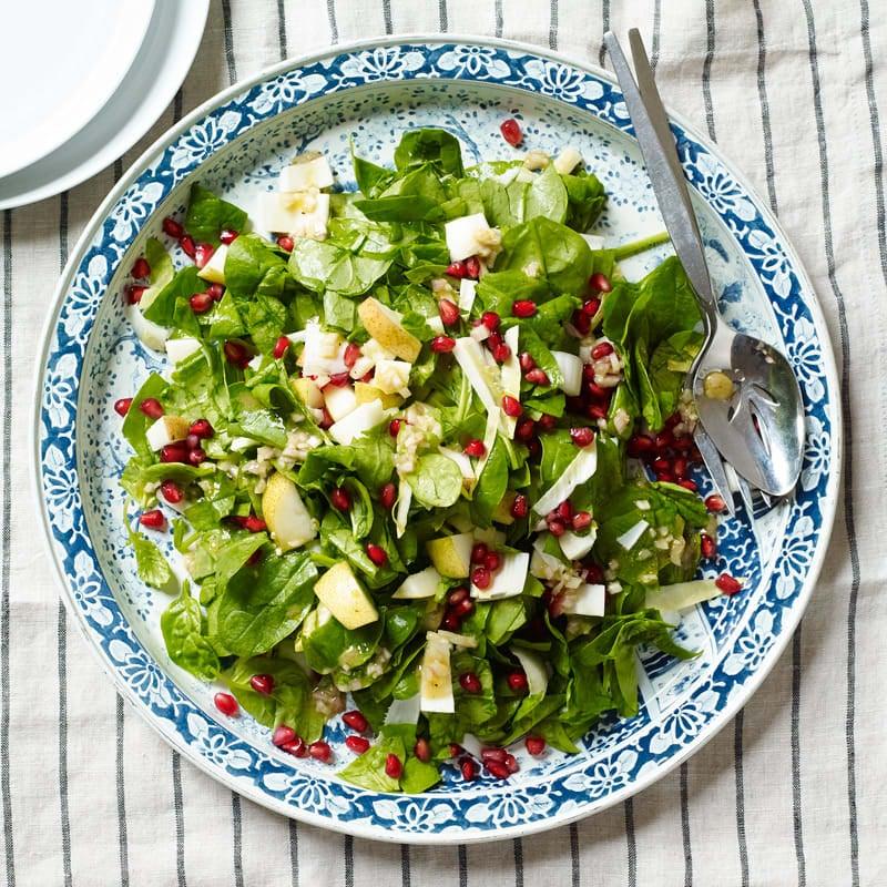 Photo de Salades d'épinards et de poires hachés avec vinaigrette au xérès par WW