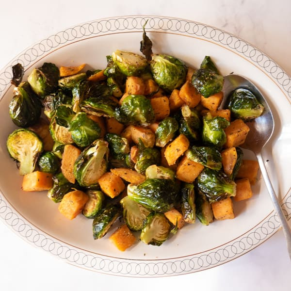 Photo of Air fryer sweet potatoes and sprouts by WW