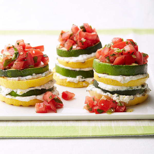Photo of Grilled summer squash stacks with herbed ricotta by WW