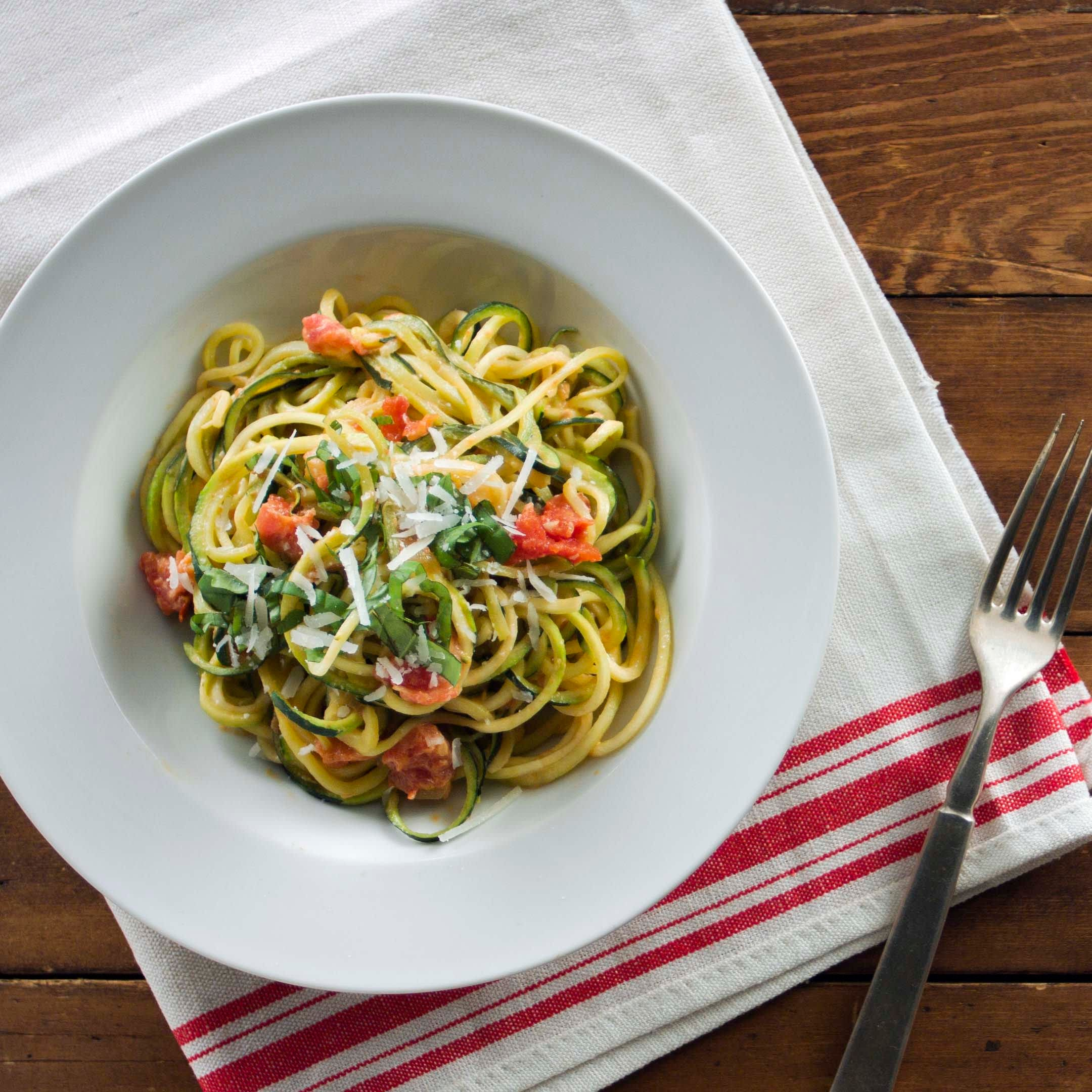 Photo of Zucchini Noodles with Tomato and Basil Cream Sauce by WW
