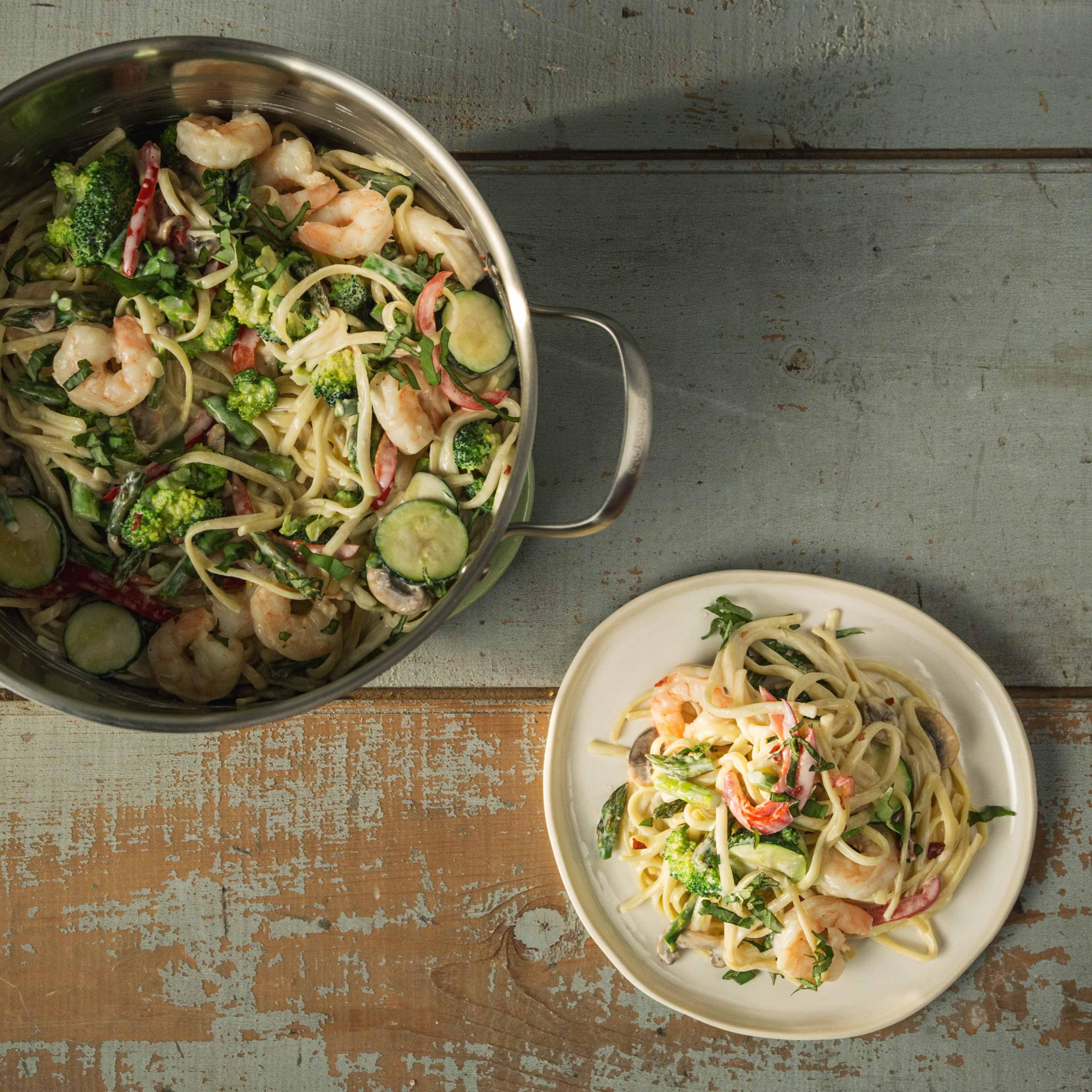 Photo of One-Pot Pasta Primavera with Shrimp by WW