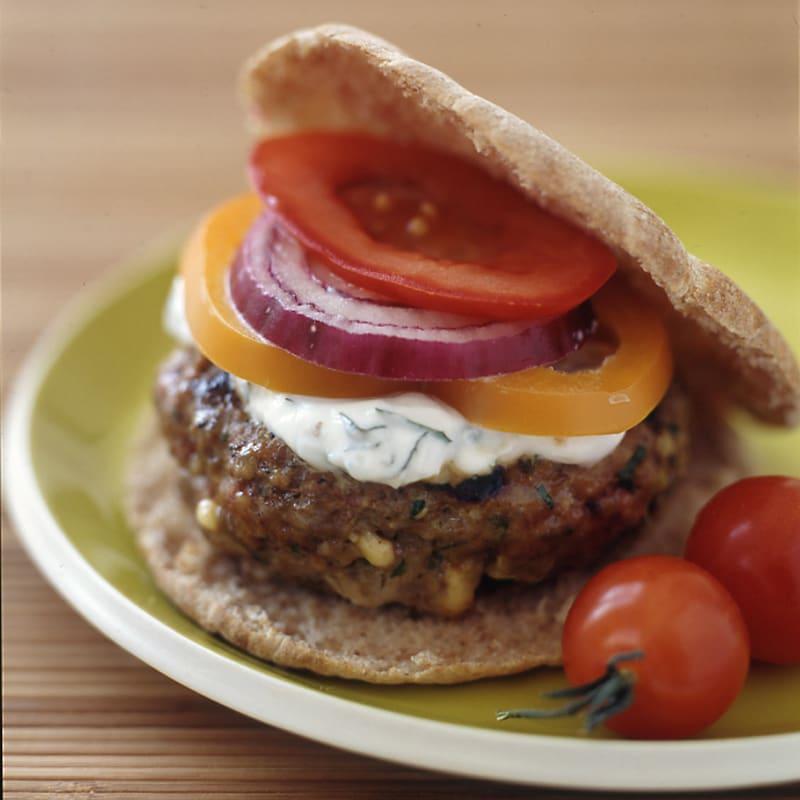 Photo of Feta-stuffed lamb burgers with minted-yogurt sauce by WW