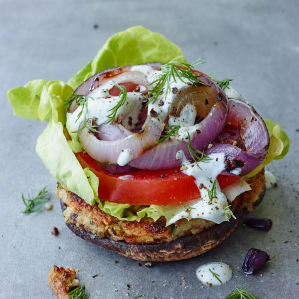 Photo de Hamburgers grecs aux pois chiches et aux champignons portobellos par WW