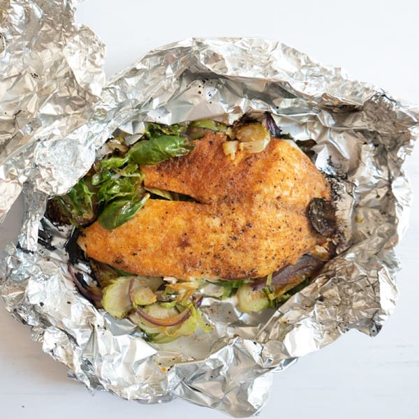 Photo of Foil packet tilapia with Brussels sprouts by WW