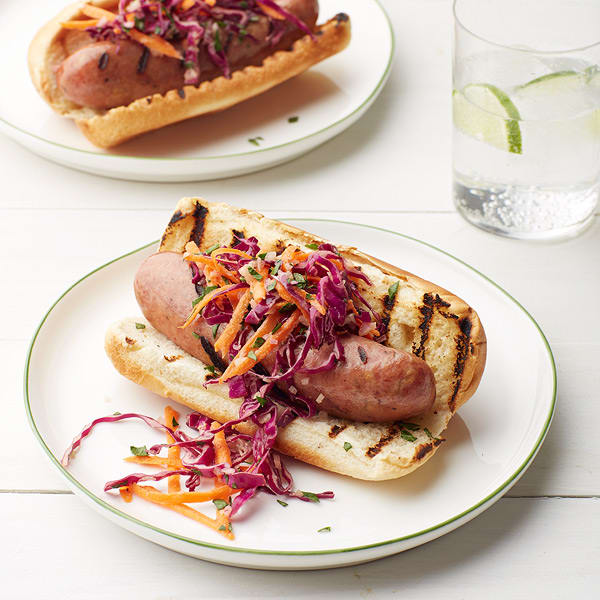 Photo of Grilled chicken sausage subs with creamy dijon slaw by WW
