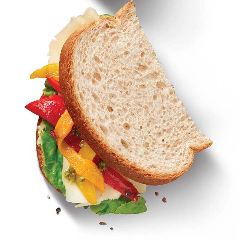 Photo of Mozzarella, red pepper and pesto sandwich by WW
