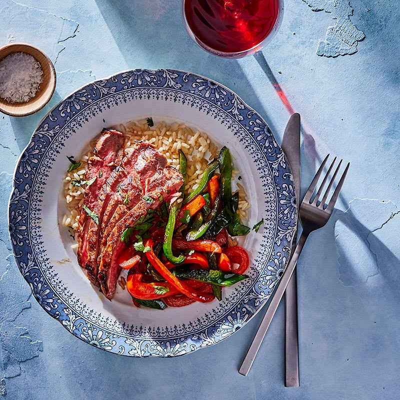 Photo of Mojo-marinated flank steak with peppers by WW