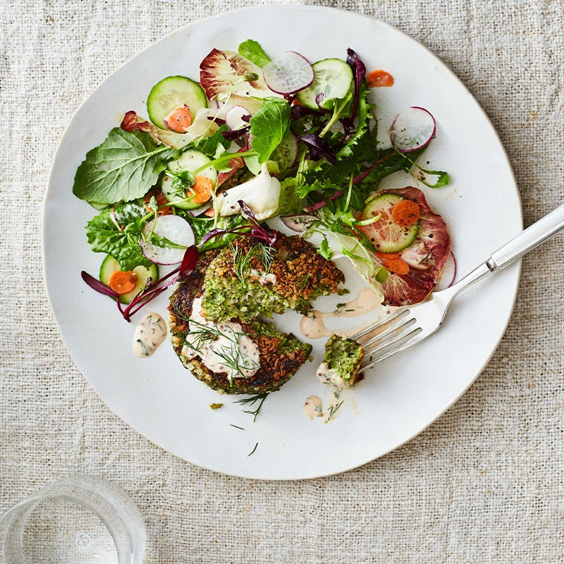 Photo of Quinoa and Garden Veggie Burgers with Sriracha Ranch Dressing by WW