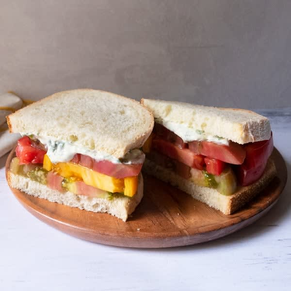 Photo of Heirloom tomato sandwiches with basil mayo by WW
