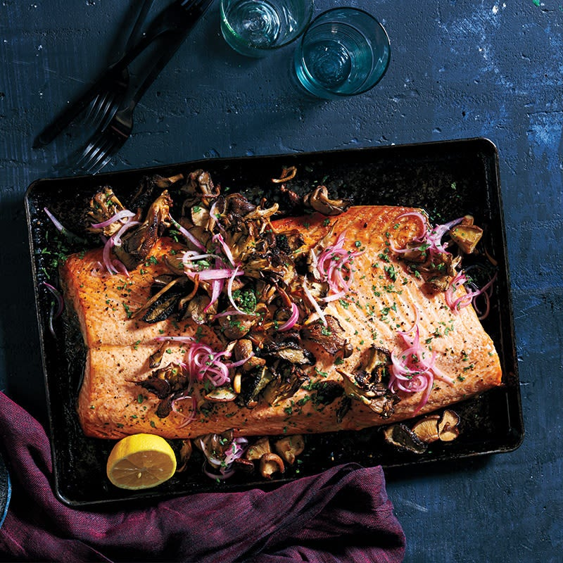 Photo of Roasted salmon and mushrooms with quick-pickled shallots by WW