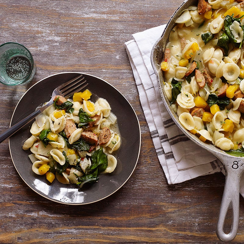 Photo of One-pot orecchiette with sausage, fennel and butternut squash by WW