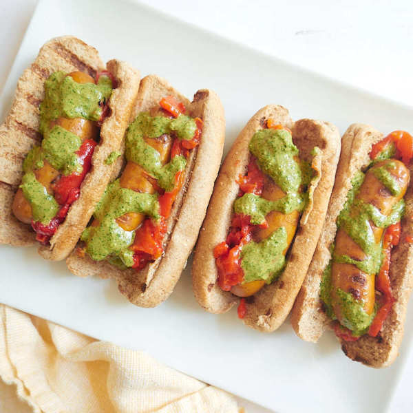 Photo of Chorizo dogs with mojo verde drizzle by WW