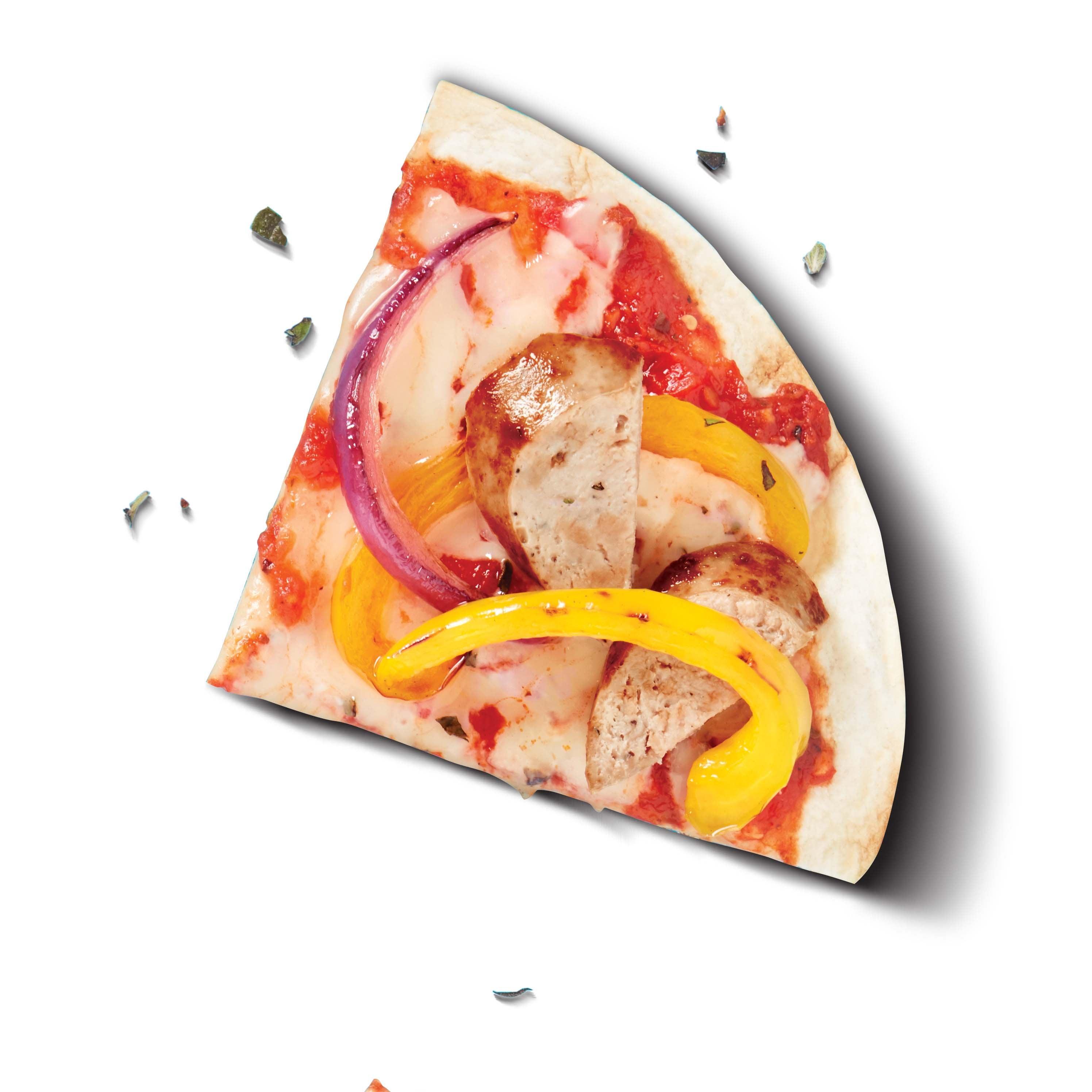 Photo de Pizza grillée à la saucisse au poulet, aux oignons et aux poivrons par WW