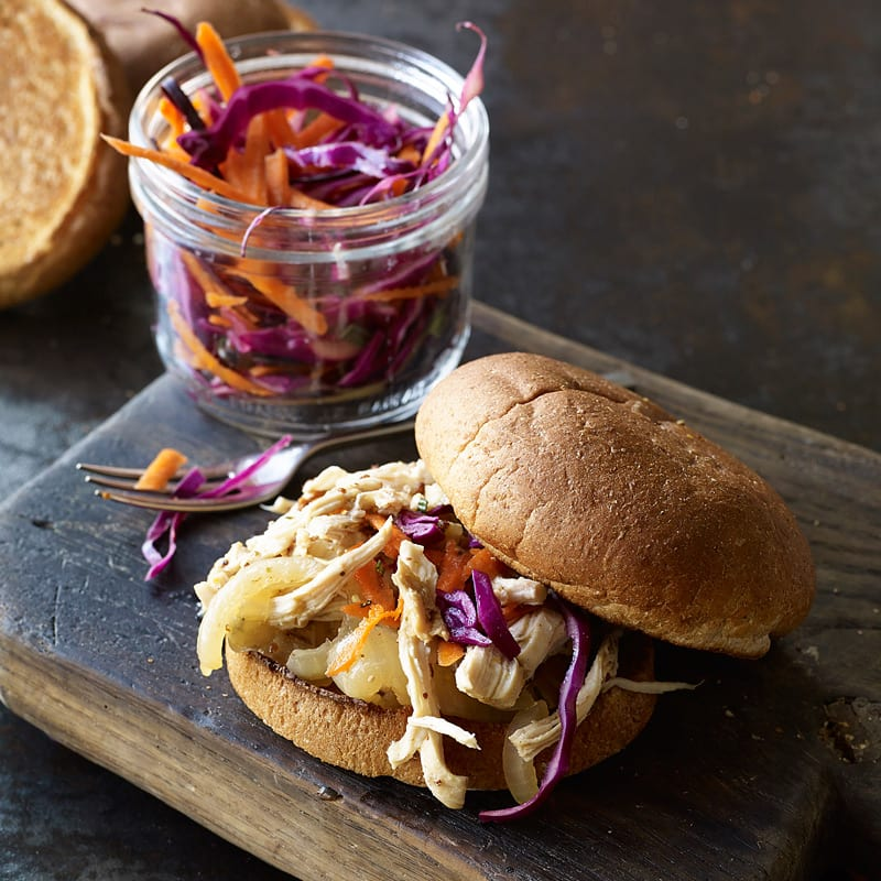 Photo of Slow cooker cider-braised pulled chicken-apple sandwiches by WW