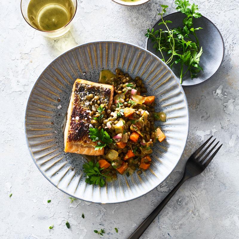 Photo of Crispy salmon with warm french lentil salad by WW