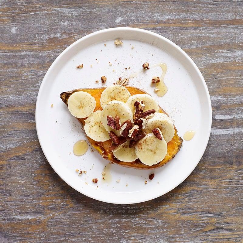 Photo of Sweet potato toast with banana, honey and pecans by WW