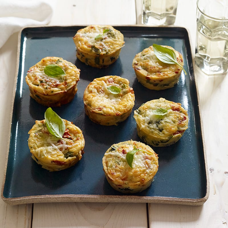 Photo of Crustless mozzarella, roasted pepper and spinach tarts by WW