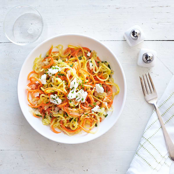 """Photo of Veggie """"pasta"""" with lemon, chives, and goat cheese by WW"""