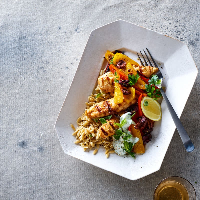 Photo of Greek chicken with tzatziki, orzo & peppers by WW