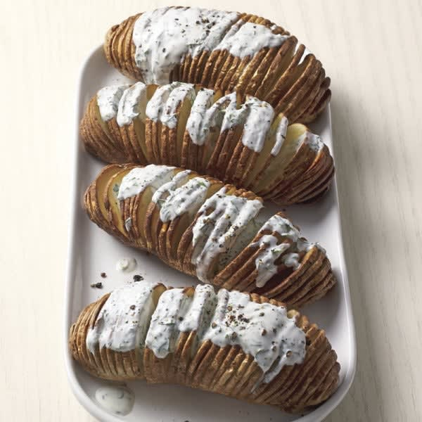 Photo of Air fryer Hasselback potatoes with herby ranch drizzle by WW