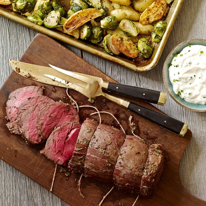 Photo of Beef Tenderloin with Fingerling Potatoes, Brussels Sprouts and Horseradish-Cream Sauce by WW