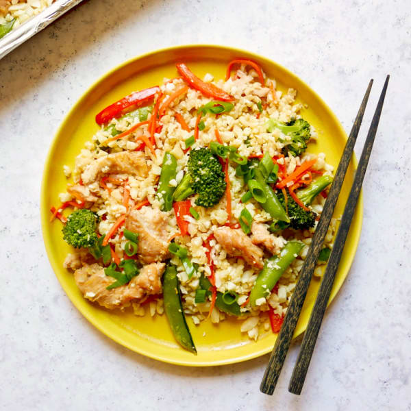 Photo of Sheet pan fried cauliflower rice with chicken by WW