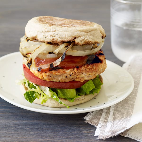 Photo of BBQ turkey burgers with grilled onions by WW