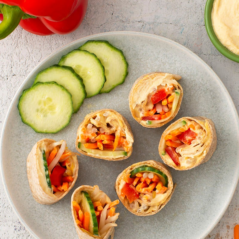 Photo of Hummus and veggie tortilla roll-ups by WW