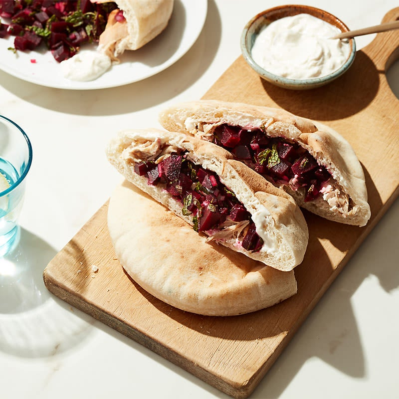 Photo of Cat Cora's chicken gyros with beet salsa and creamy tahini sauce by WW