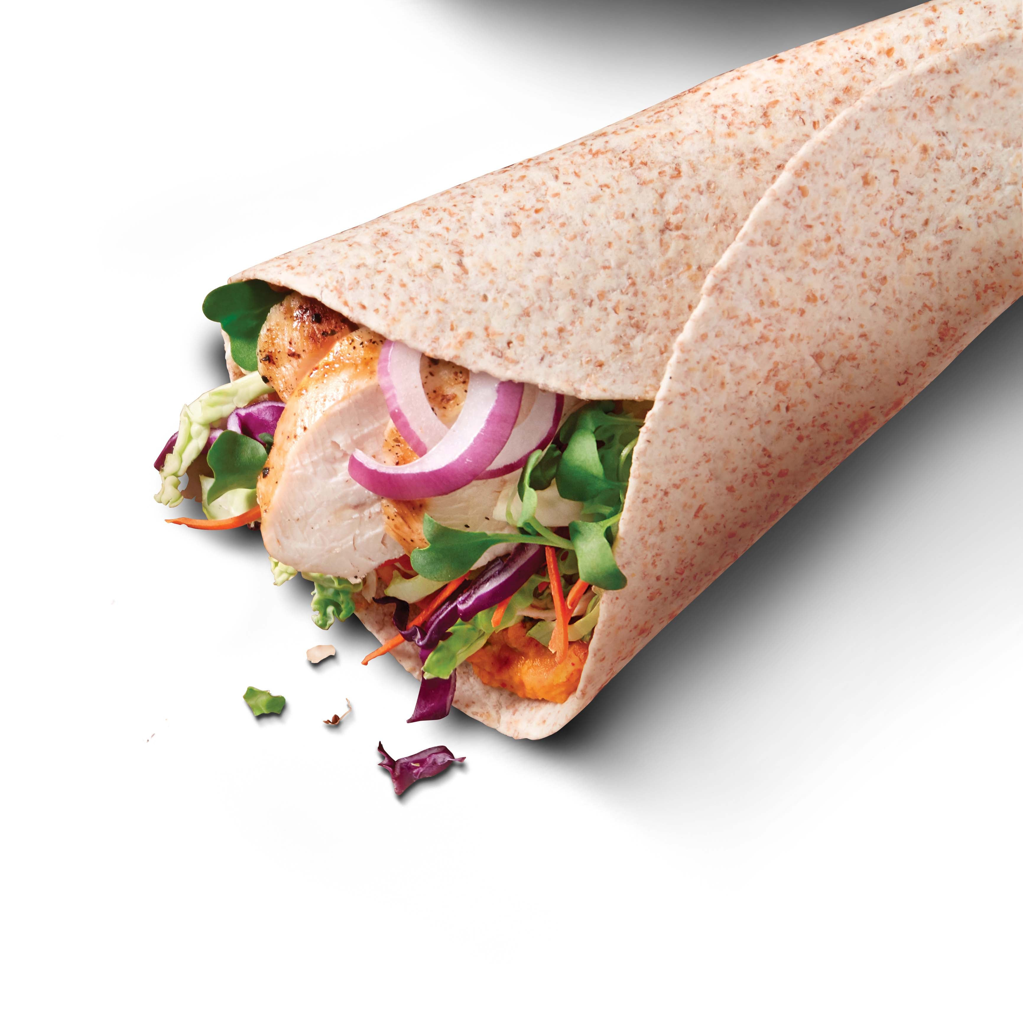 Photo of Hummus and shredded chicken vegetable wraps by WW