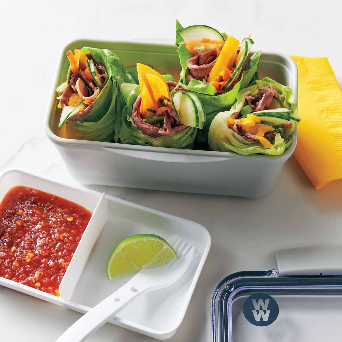 Photo of Beef, mango, and cucumber wraps by WW