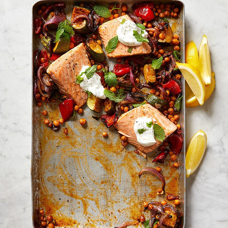 Photo of Roasted Salmon with Chickpeas, Zucchini and Red Pepper by WW