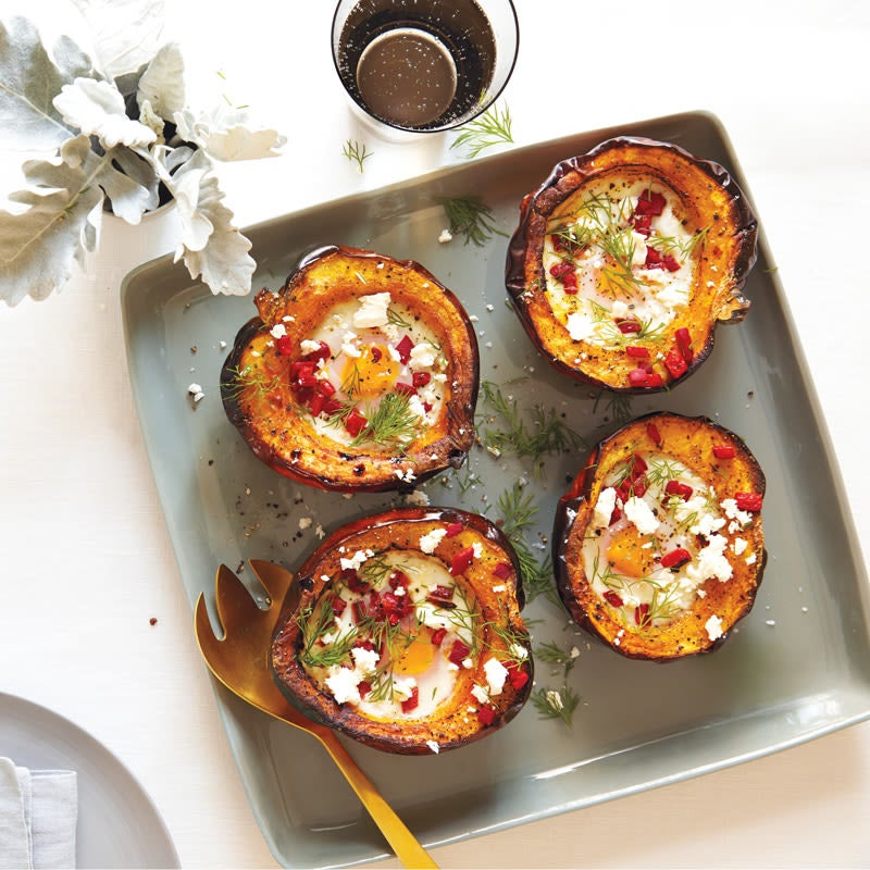 Photo of Baked Eggs in acorn squash with roasted peppers & dill by WW