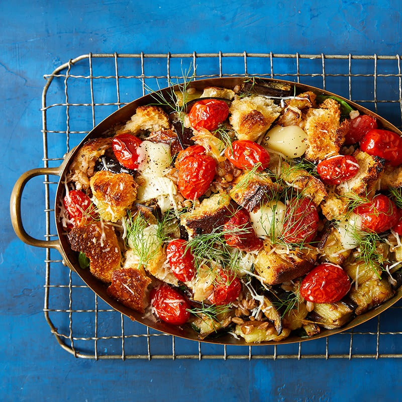 Photo of Eggplant, Fennel, Tomato, Farro and Fontina Casserole (Layered Veggie/Grain Casserole) by WW