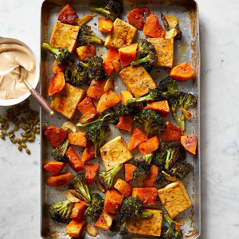 Photo of Tofu, broccoli and butternut squash with creamy tahini sauce by WW