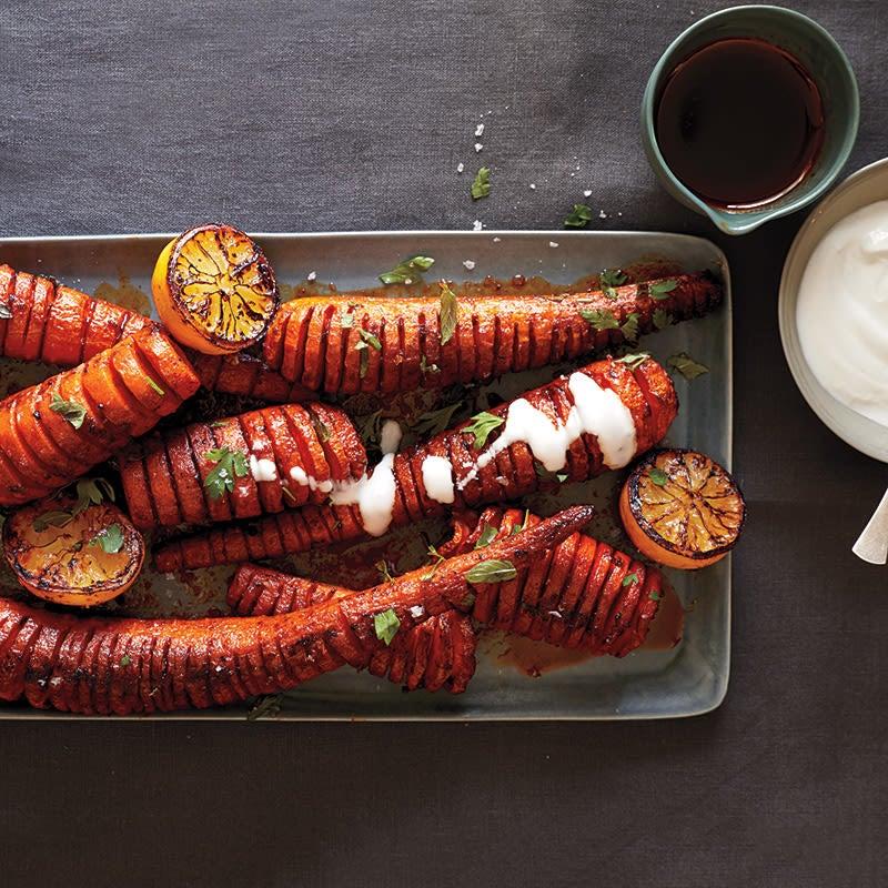 Photo of Hasselback Carrots with Smoked Paprika, Roasted Lemon & Yogourt Sauce by WW
