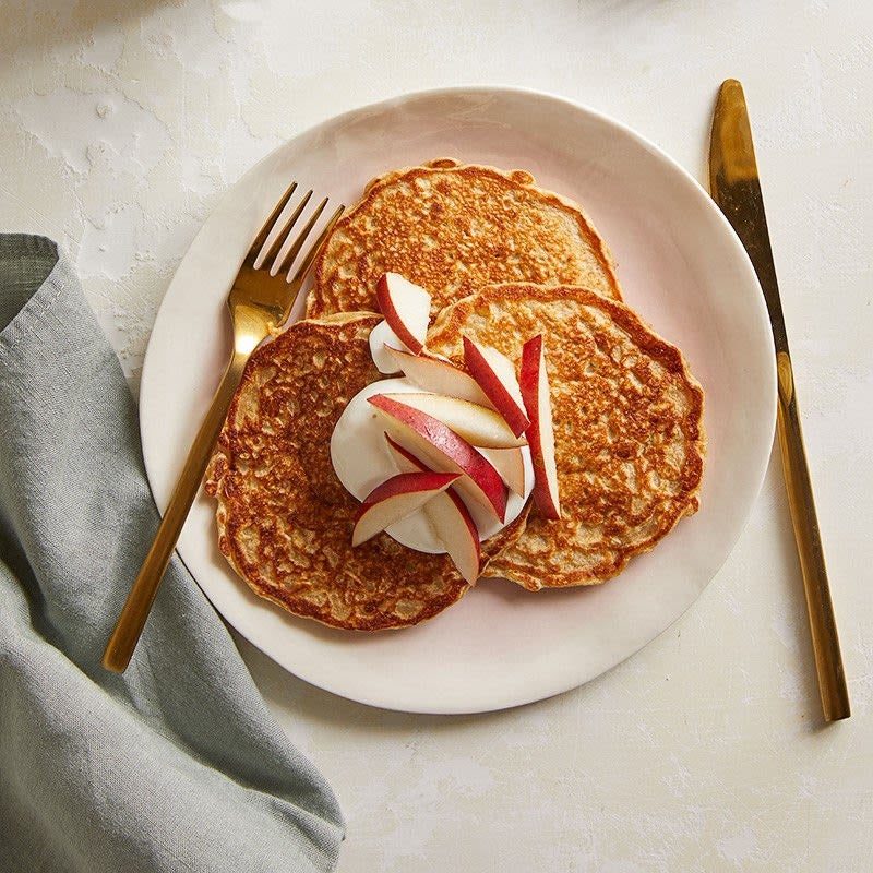 Photo of Buttermilk-oat pancakes with yogurt and pear by WW