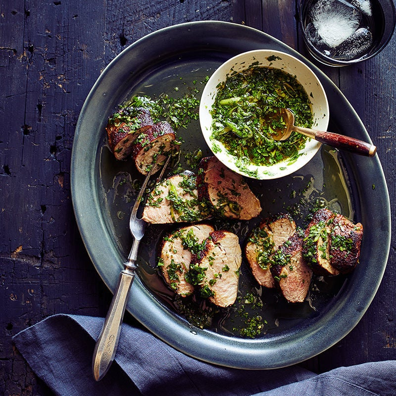 Photo of Smoked Pork Tenderloin with Cilantro Sauce by WW