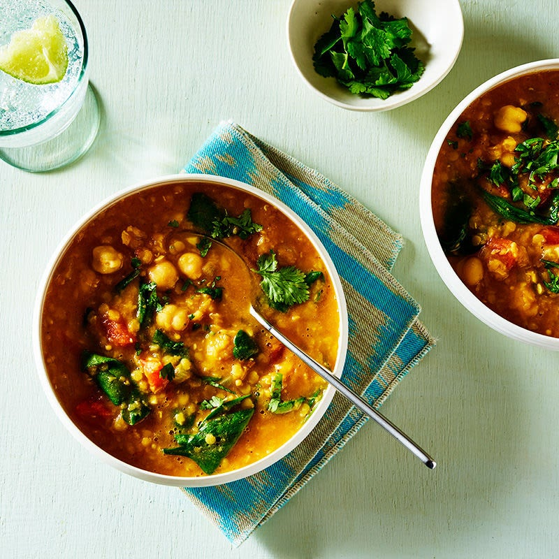 Photo of Curried red lentil-chickpea stew with tomatoes and spinach by WW