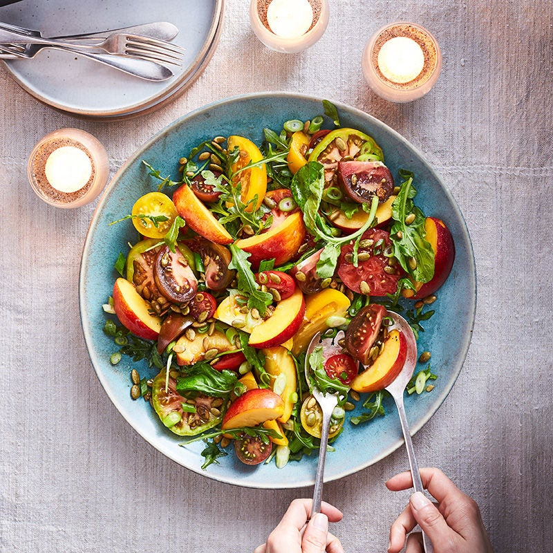Photo of Tomato and Nectarine Salad with Scallions and Pumpkin Seeds by WW