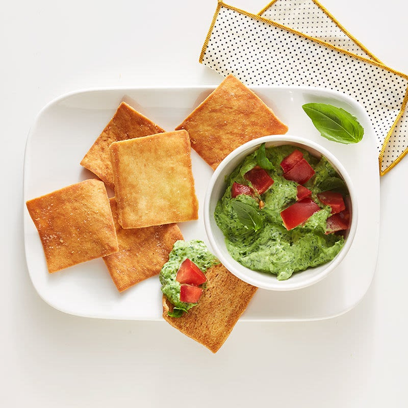 Photo of Basil-spinach dip with pita chips by WW