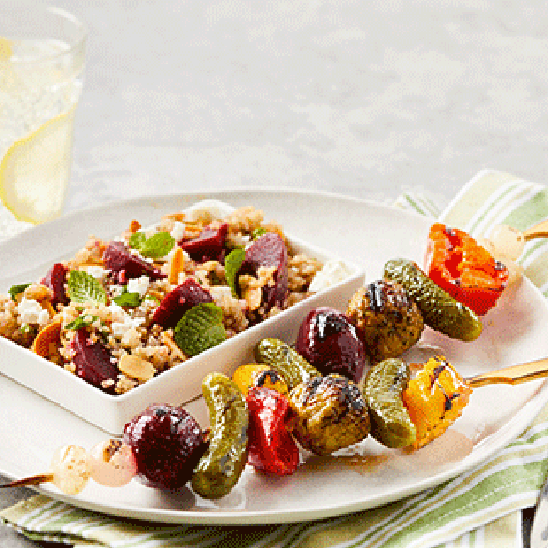 Photo of Plant-based beet + quinoa salad & veggie kebobs by WW