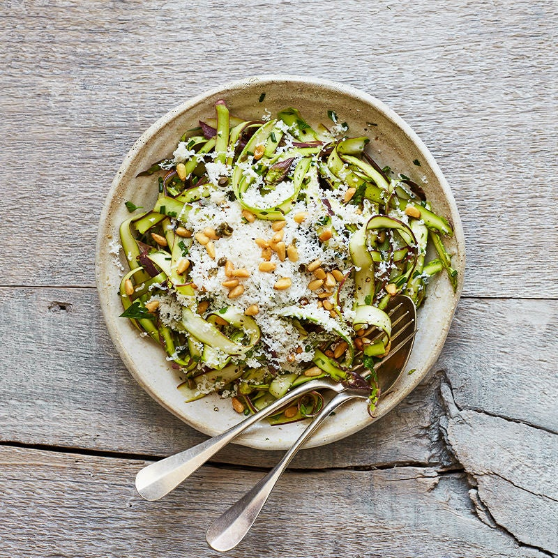 Photo of Shaved Asparagus Salad with Ricotta Salata and Toasted Pine Nuts by WW