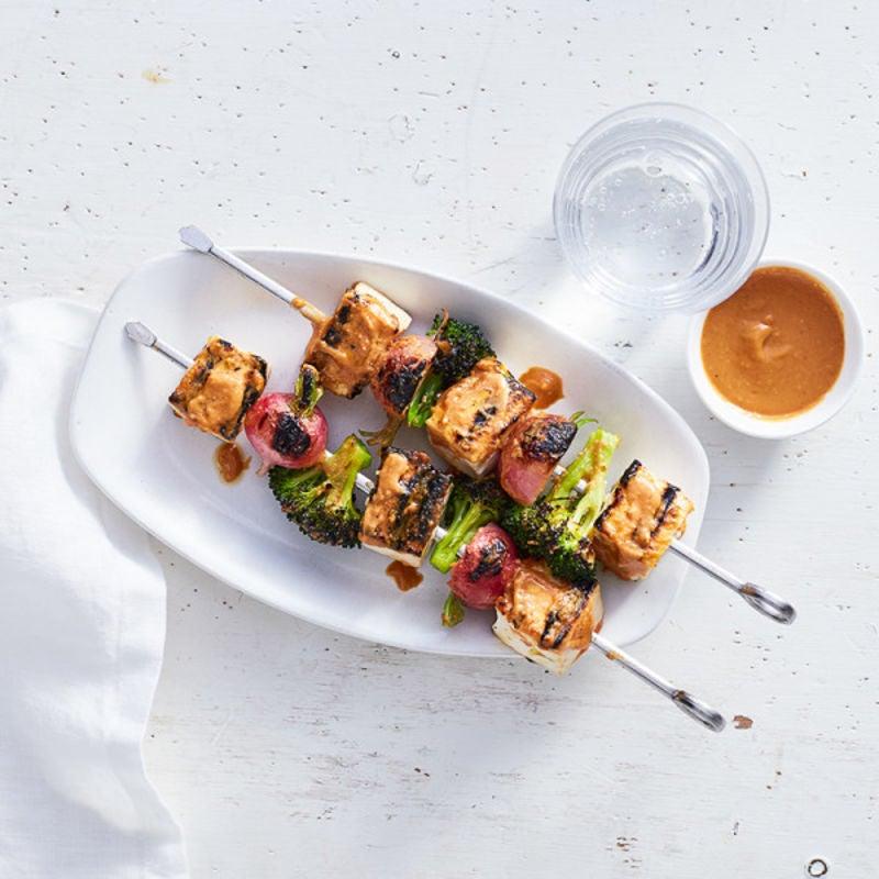 Photo of Tofu-veggie kebabs with peanut-sriracha sauce by WW
