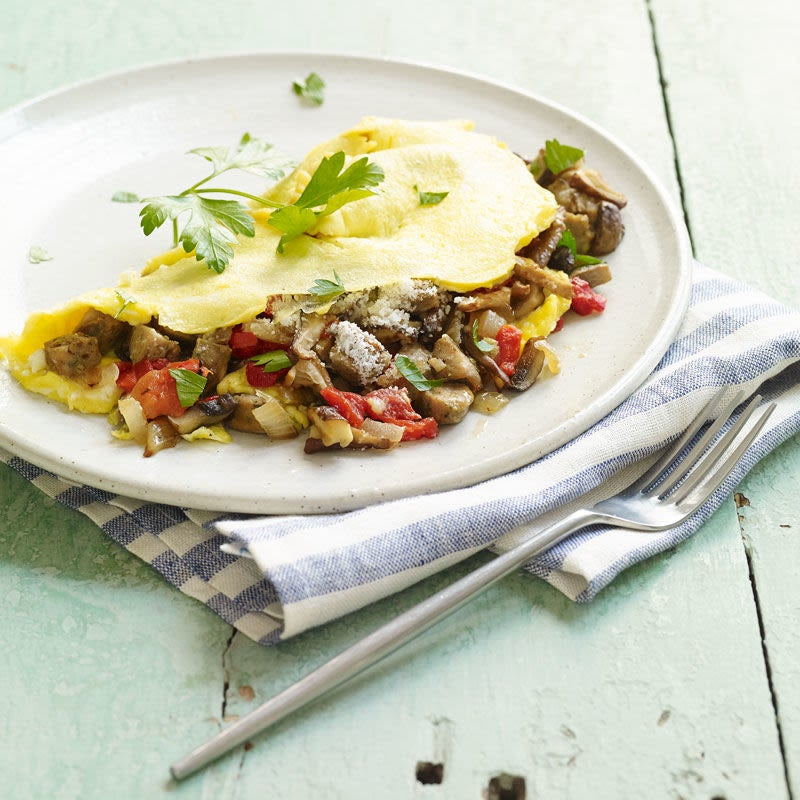 Photo of Italian turkey sausage & vegetable omelette by WW