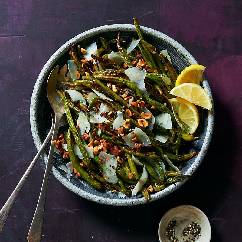 Photo of Roasted Green Beans with Toasted Hazelnuts and Shaved Pecorino by WW